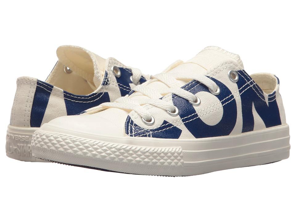 Converse Kids Chuck Taylor All Star Wordmark Ox (Little Kid) (Natural/Blue/Egret) Kids Shoes