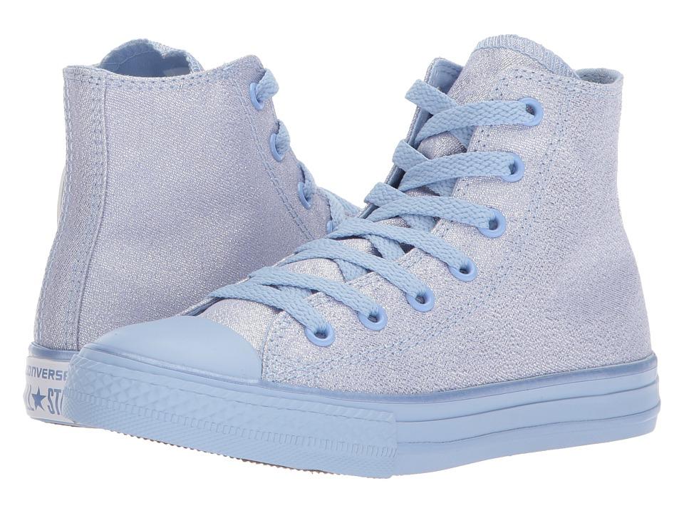 Converse Kids Chuck Taylor All Star Mono Shine Hi (Little Kid/Big Kid) (Blue Chill/Blue Chill/Blue Chill) Girls Shoes