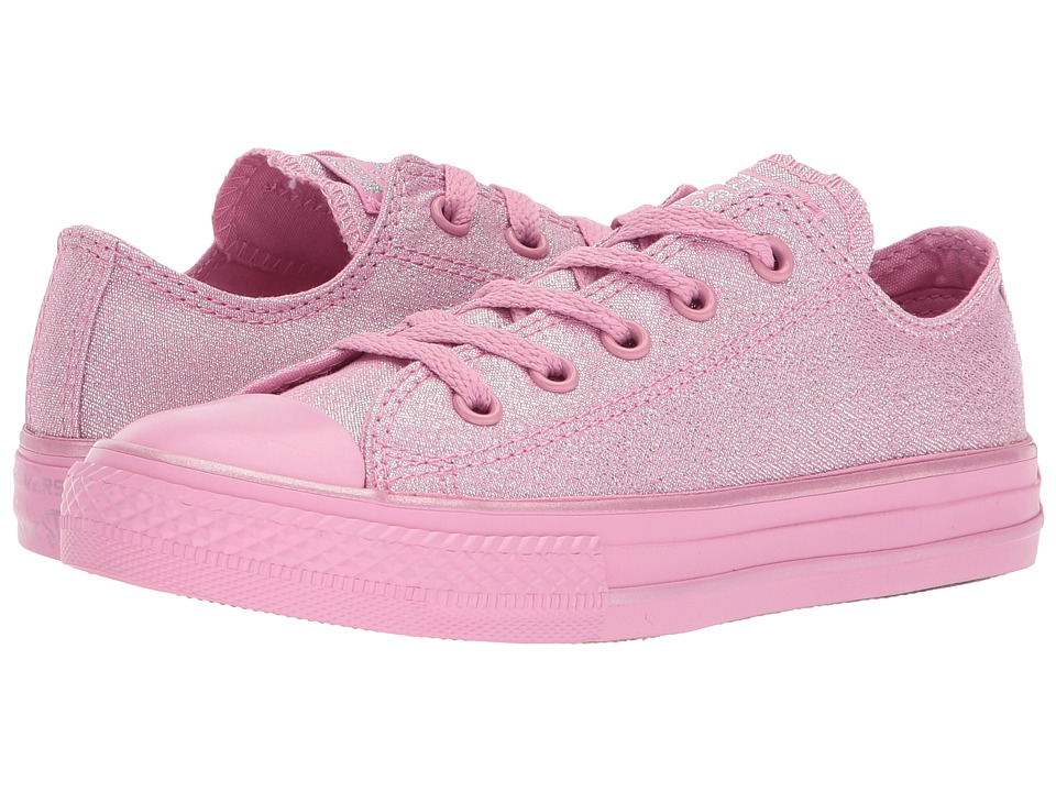 Converse Kids - Chuck Taylor All Star Mono Shine Ox (Little Kid/Big Kid) (Light Orchid/Silver/Light Orchid) Girls Shoes