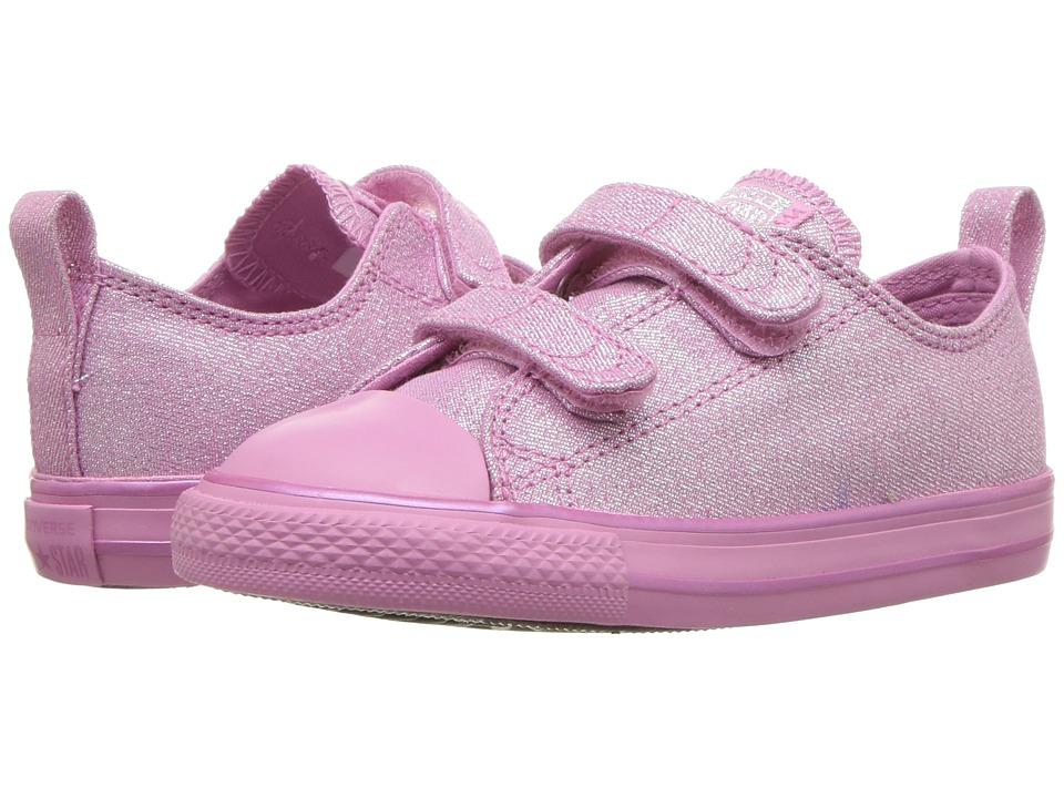 Converse Kids - Chuck Taylor All Star 2V - Mono Shine Ox (Infant/Toddler) (Light Orchid/Light Orchid/Silver) Girls Shoes