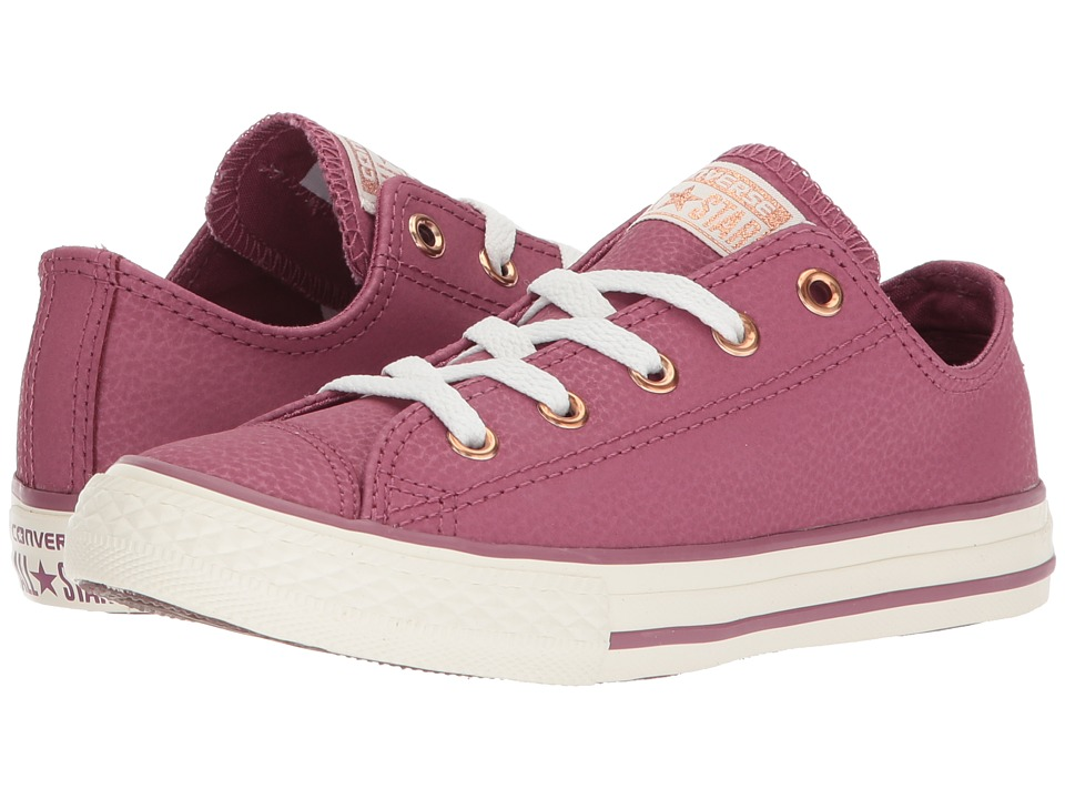 Converse Kids - Chuck Taylor All Star Fashion Leather Ox (Little Kid/Big Kid) (Vintage Wine/Egret/Rose Gold) Girls Shoes