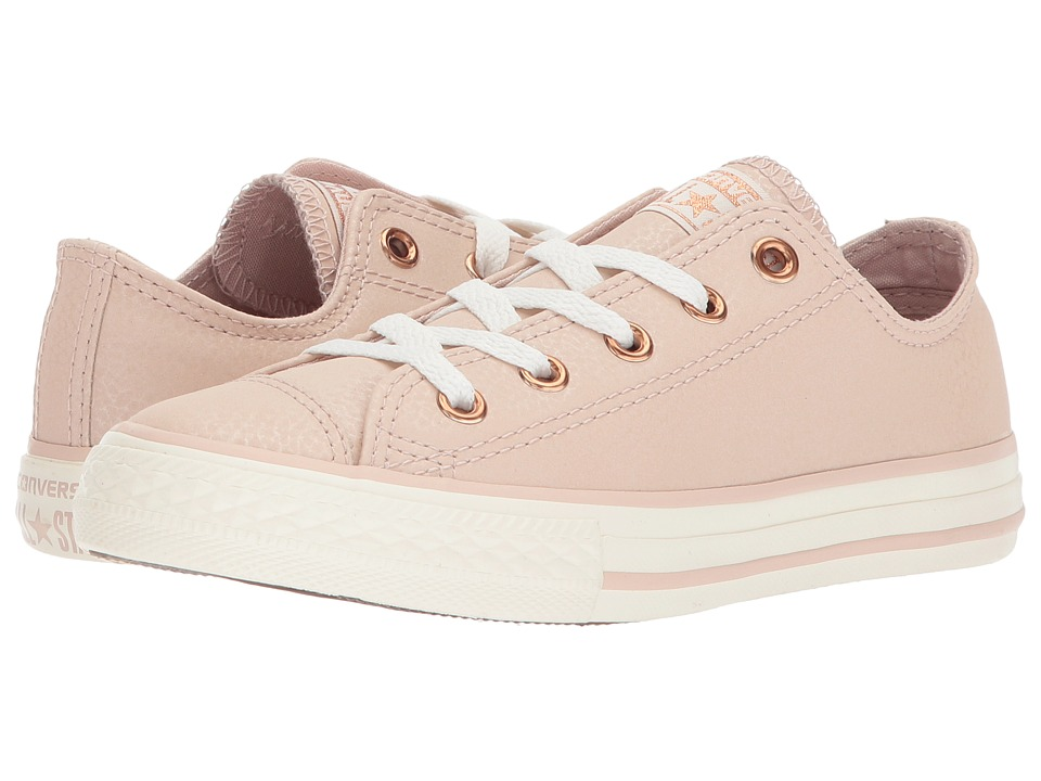Converse Kids Chuck Taylor All Star Fashion Leather Ox (Little Kid/Big Kid) (Particle Beige/Egret/Rose Gold) Girls Shoes