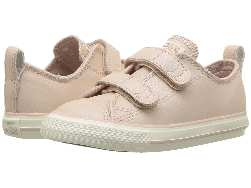 Converse Kids - Chuck Taylor All Star Fashion Leather 2V - Ox (Infant/Toddler) (Particle Beige/Egret/Rose Gold) Girls Shoes