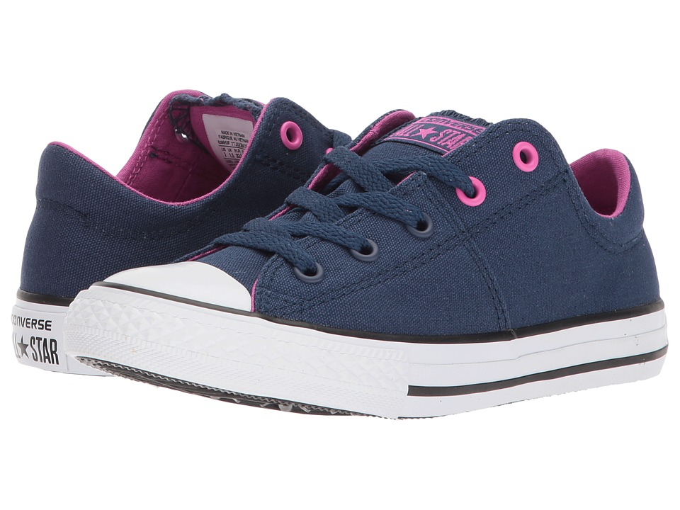 Converse Kids Chuck Taylor All Star Madison Ox (Little Kid/Big Kid) (Navy/Hyper Magenta/White) Girl's Shoes