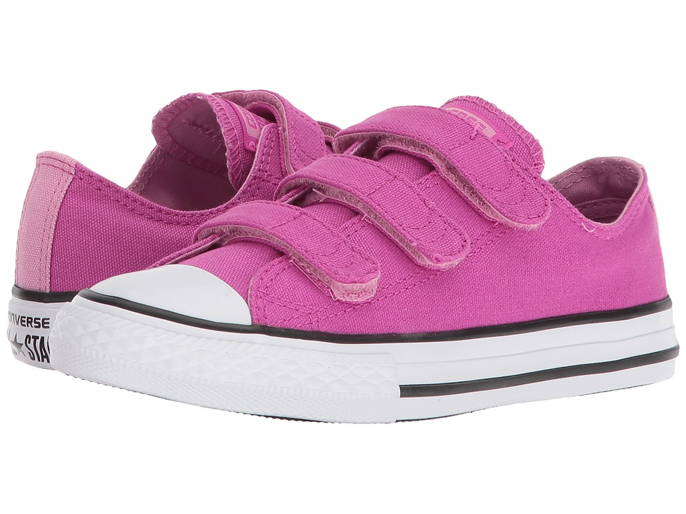Converse Kids - Chuck Taylor All Star 3V - Ox (Little Kid/Big Kid) (Hyper Magenta/Light Orchid/White) Girls Shoes
