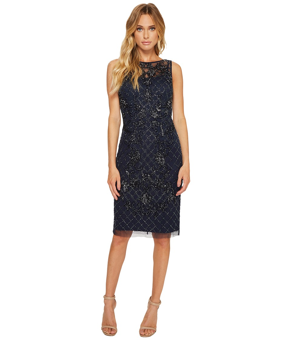 Adrianna Papell - Sleeveless Beaded Cocktail Dress with Illusion