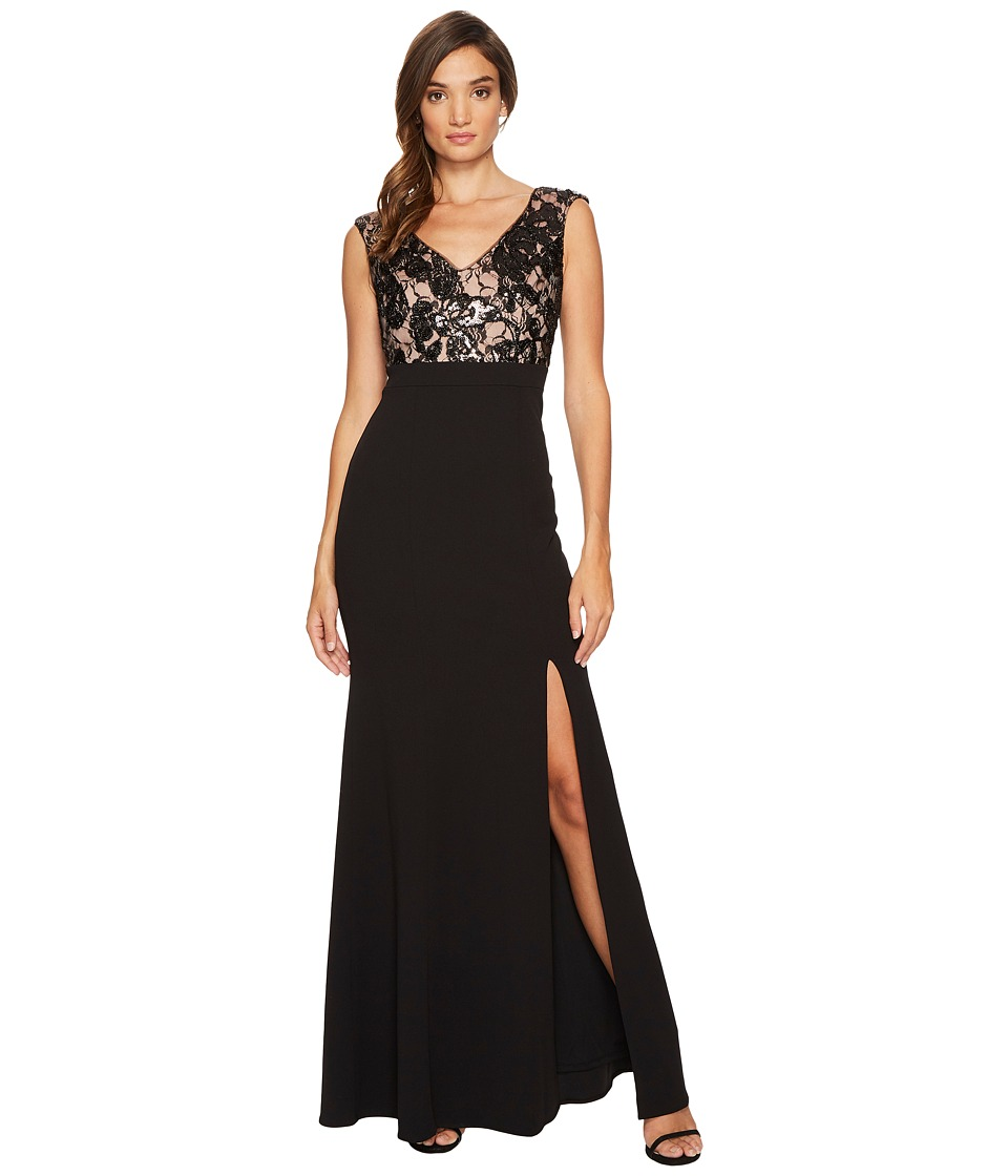 Adrianna Papell Cap Sleeve Long Gown with Lace Bodice (Black/Nude) Women