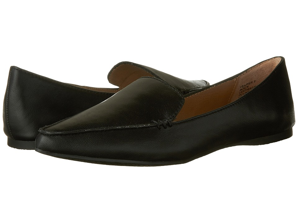 Steve Madden Feather Loafer Flat (Black Leather) Women's Dress Flat Shoes