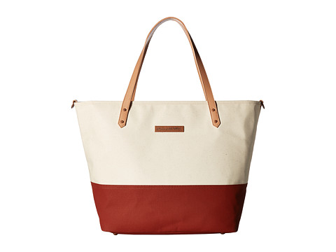 petunia pickle bottom Glazed Color Block Downtown Tote - Birch/Rust