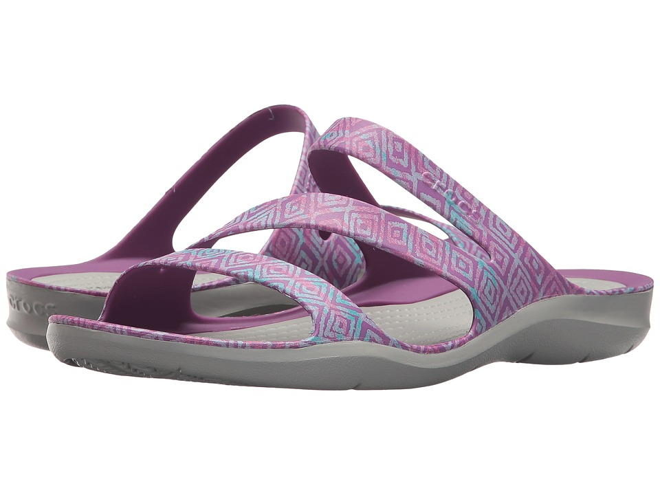 Crocs - Swiftwater Graphic Sandal (Amethyst Diamond/Light Grey) Women's Sandals