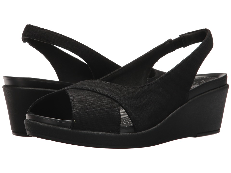 Crocs - Leigh Ann Slingback Wedge (Black/Black) Womens  Shoes