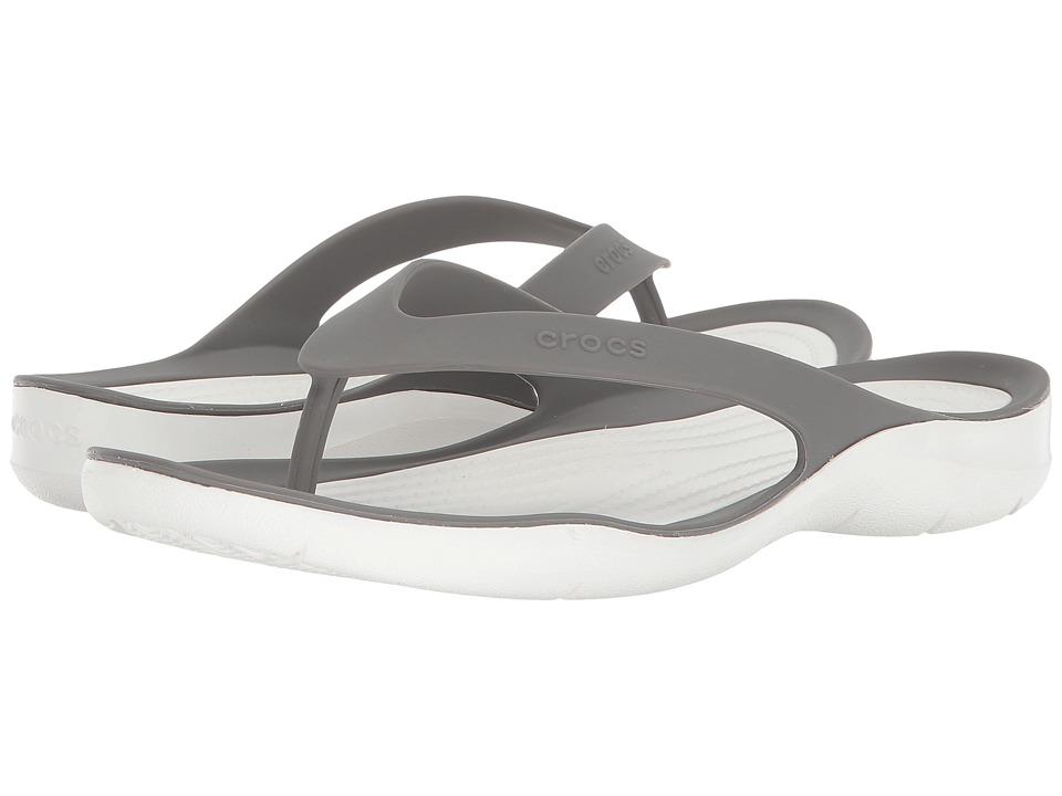 Crocs Swiftwater Flip (Smoke/White) Women's Shoes