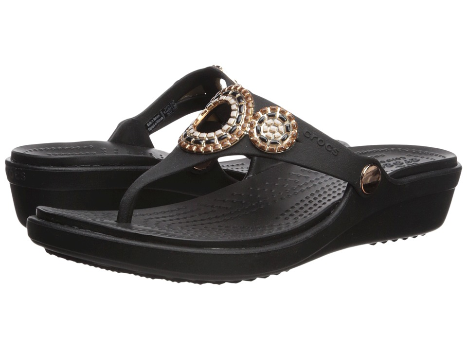 Crocs - Sanrah Diamante Wedge Flip (Black/Rose Gold) Womens  Shoes