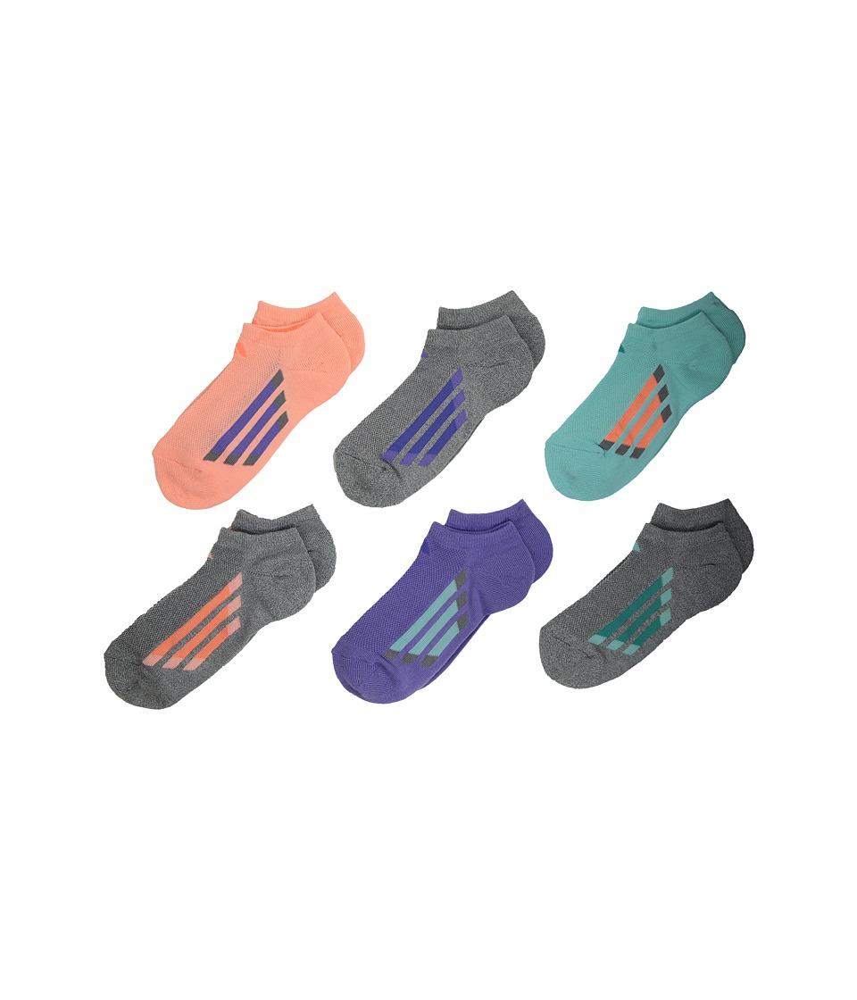 adidas Kids - Vertical Stripe No Show Socks 6-Pack (Toddler/Little Kid/Big Kid/Adult) (Light Flash Orange/Sun Glow/Energy Aqua/Vivid Mint/Light Flash P) Girls Shoes