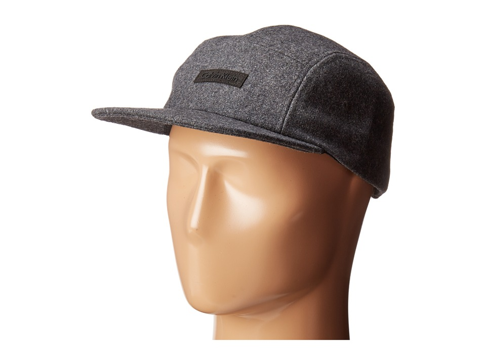 Calvin Klein - Flannel 5 Panel Ribbed Cap (Charcoal) Beanies