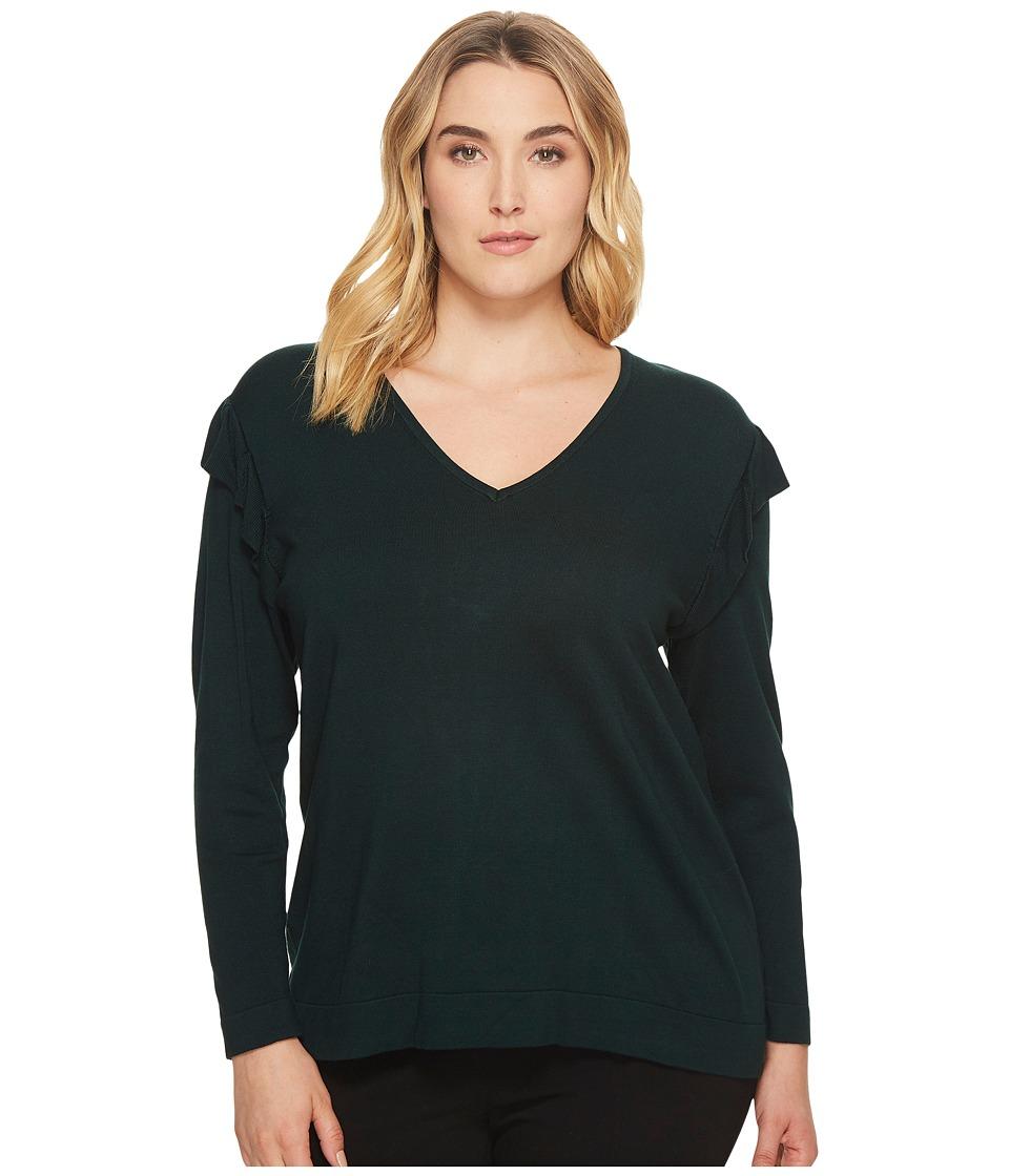 Calvin Klein Plus - Plus Size V-Neck Sweater w/ Ruffle