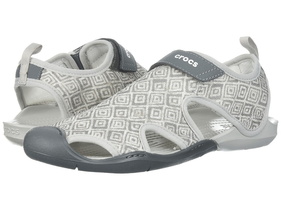 Crocs - Swiftwater Graphic Mesh Sandal (Grey Diamond) Womens  Shoes