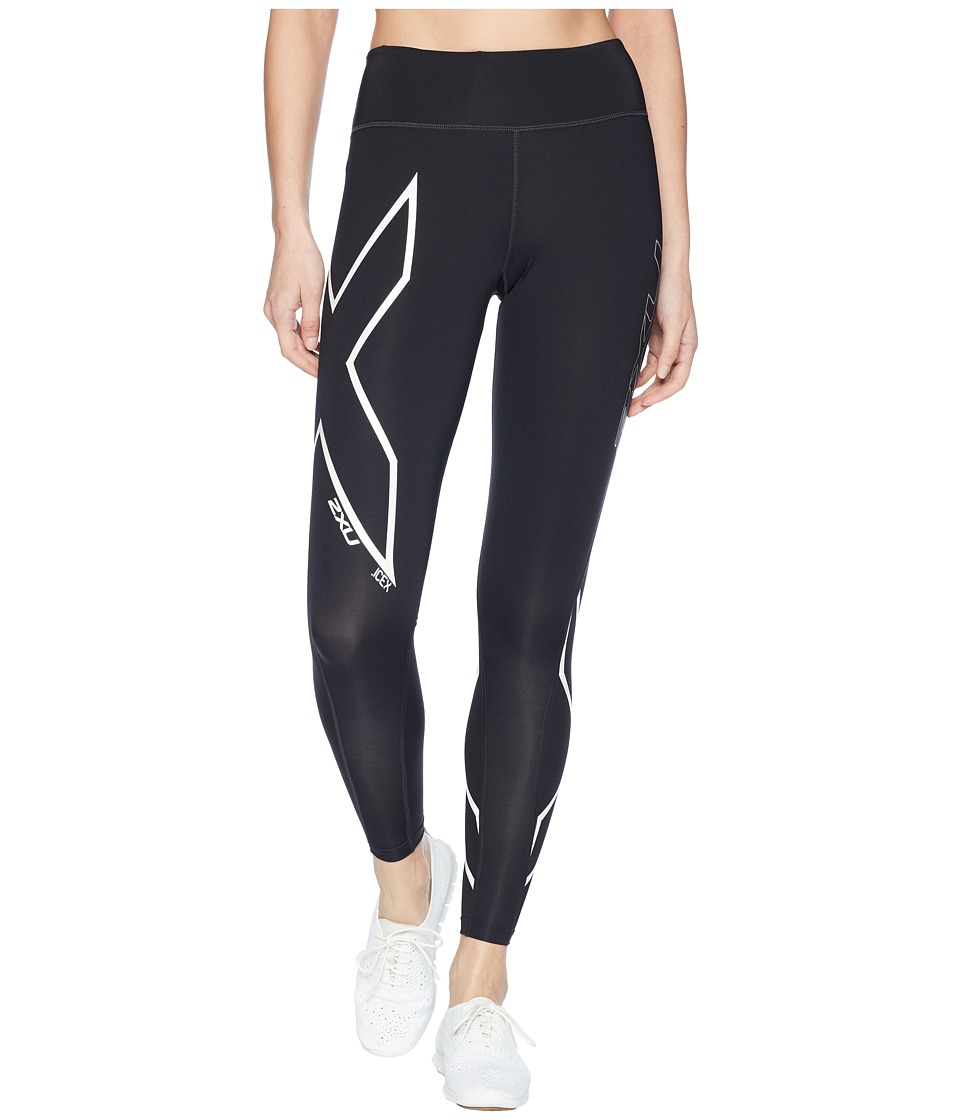 2XU Ice-X Mid-Rise Compression Tights (Black/Metallic Whi...