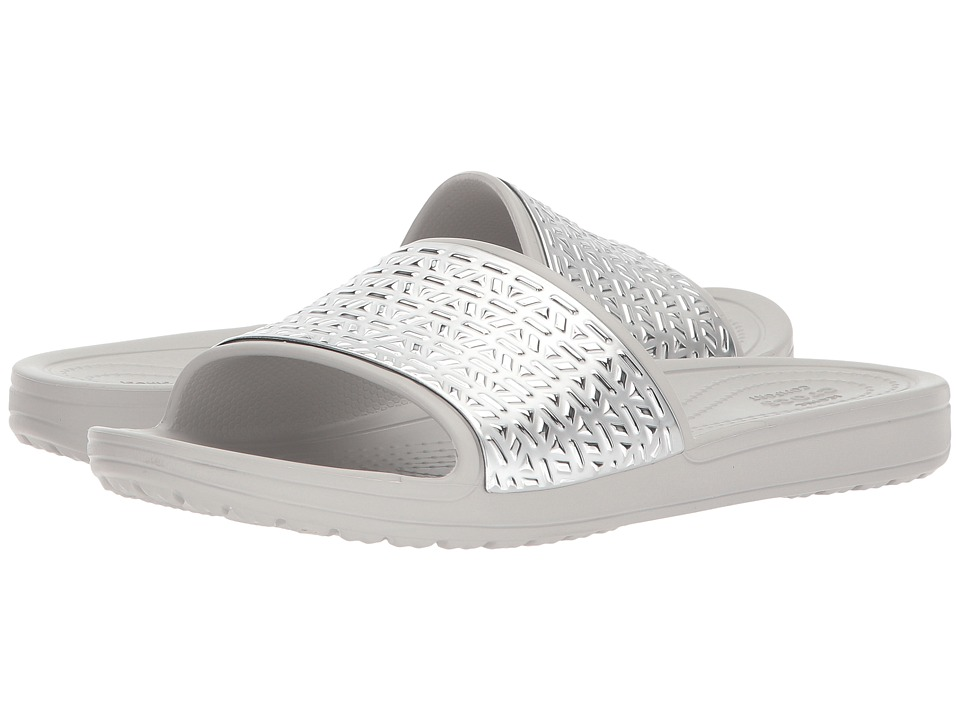 Crocs - Sloane Graphic Etched Slide (Pearl White/Silver) Womens  Shoes