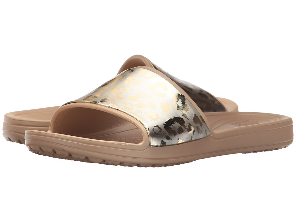 Crocs - Sloane Graphic Metallic Slide (Gold/Gold) Womens  Shoes