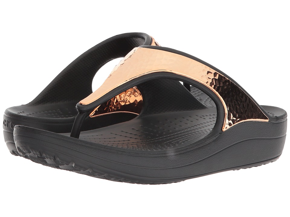 Crocs - Sloane Hammered Metallic Flip (Black/Rose Gold) Womens  Shoes