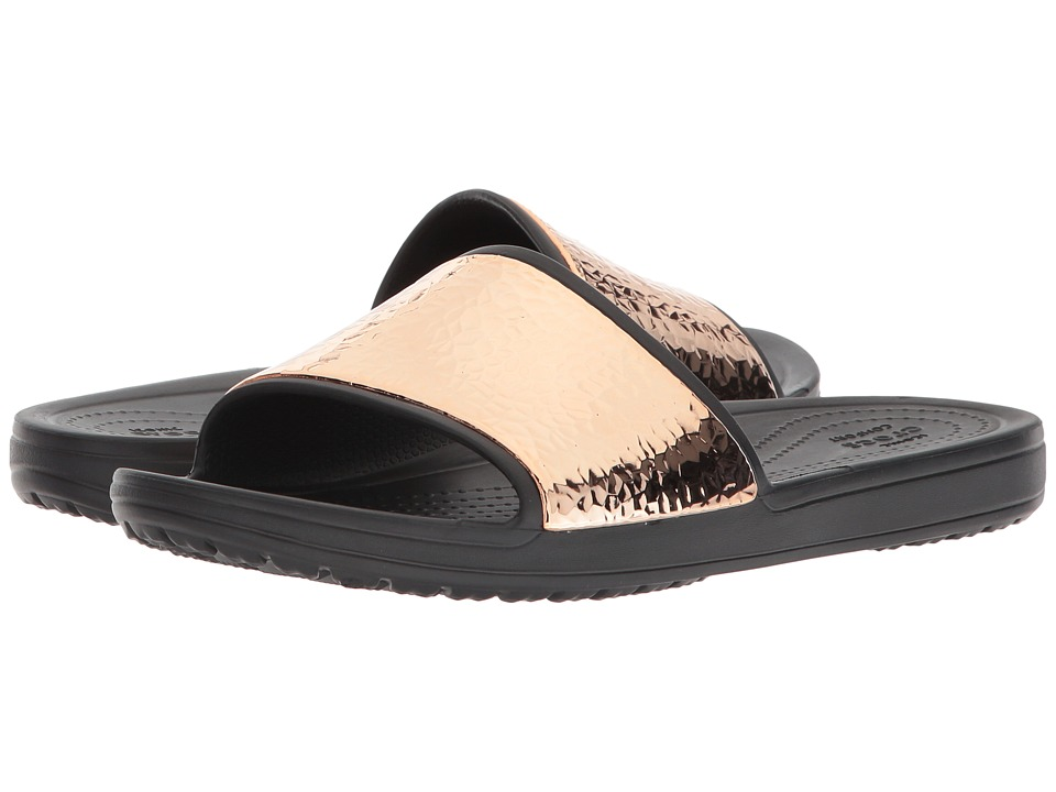Crocs - Sloane Hammered Metallic Slide (Black/Rose Gold) Womens  Shoes