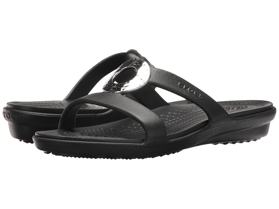 Crocs - Sanrah Hammered Metallic Sandal (Black/Black) Womens  Shoes