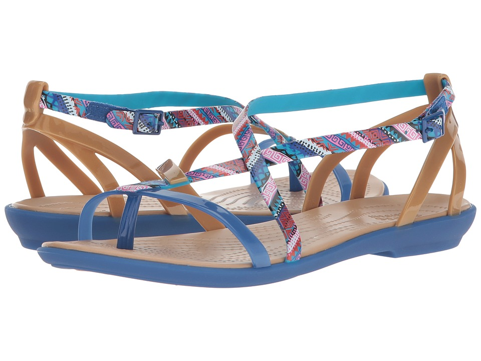 Crocs - Isabella Gladiator Graphic Sandal (Blue Jean/Gold) Womens  Shoes
