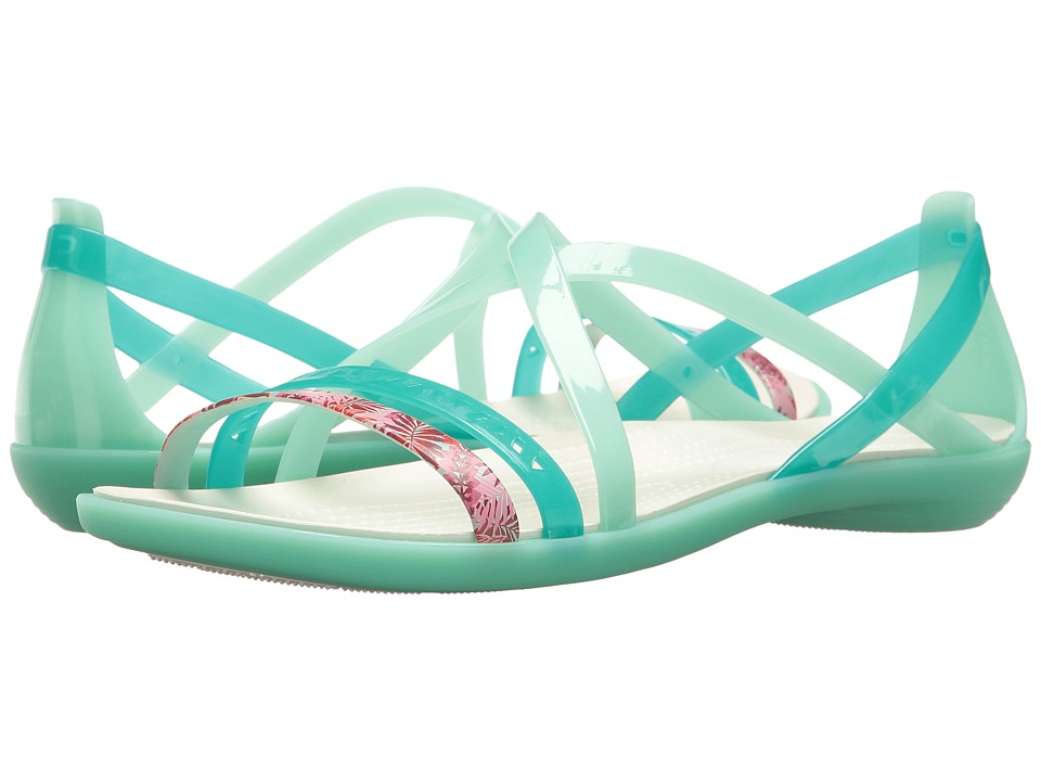 Crocs - Isabella Cut Graphic Strappy Sandal (New Mint/Oyster) Womens  Shoes