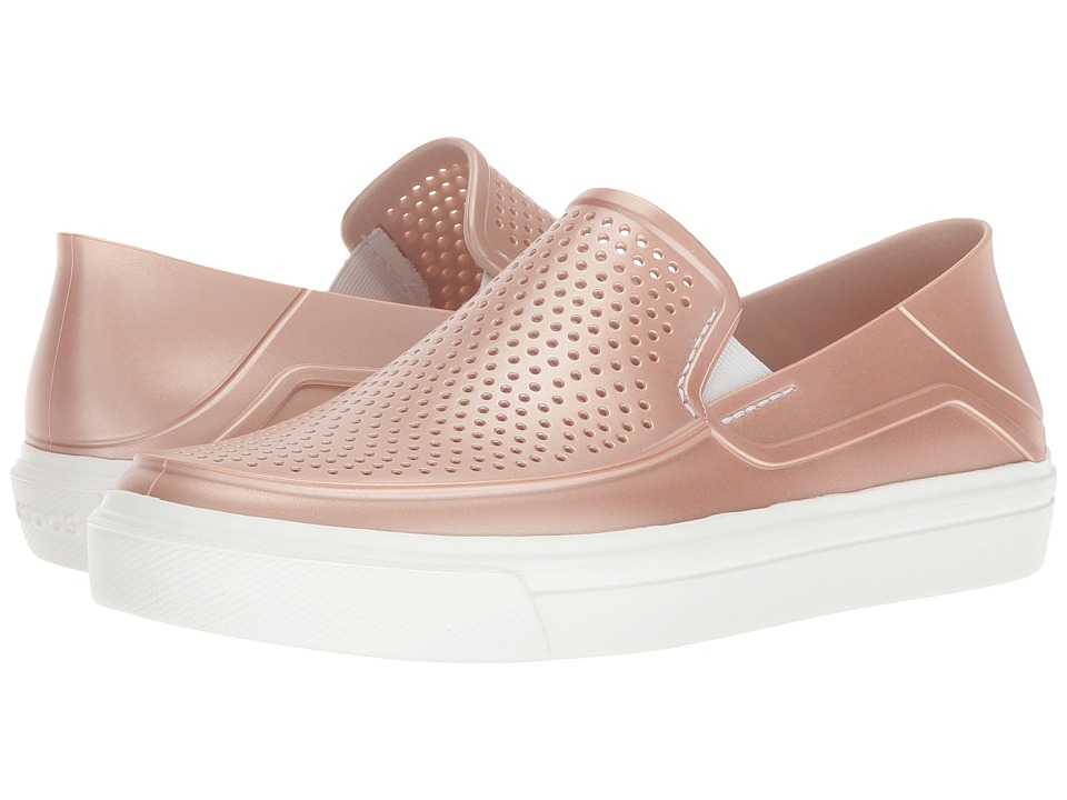 Crocs - CitiLane Roka Metallic Slip-On (Rose Dust) Womens Slip on  Shoes