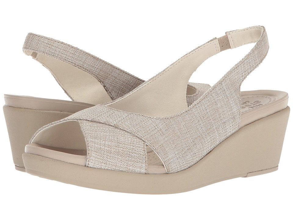 Crocs - Leigh Ann Shimmer Slingback Wedge (Oyster/Cobblestone) Womens  Shoes