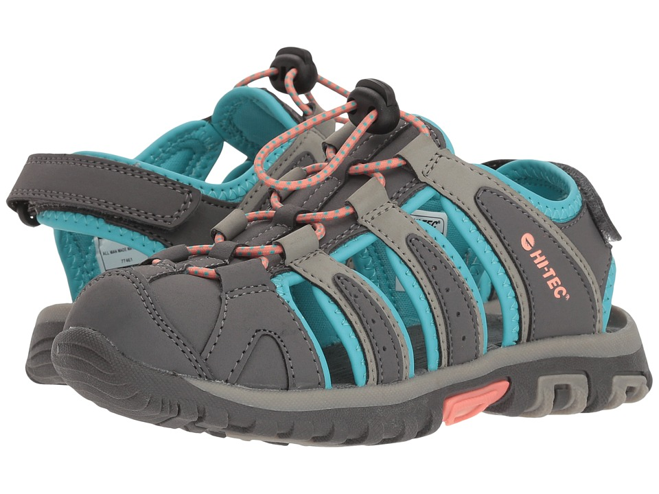 Hi-Tec Kids - Cove II (Toddler/Little Kid/Big Kid) (Cool Grey/Curacao Blue/Papaya Punch) Girls Shoes