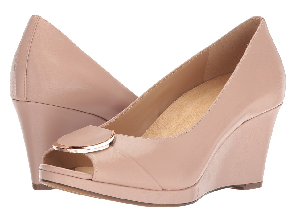 1940s Style Shoes, 40s Shoes Naturalizer - Ollie Vintage Mauve Leather Womens Wedge Shoes $110.00 AT vintagedancer.com