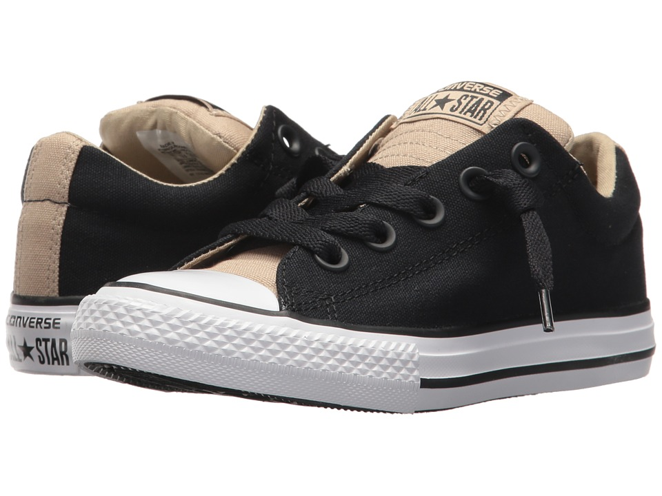 Converse Kids Chuck Taylor All Star Street Slip (Little Kid/Big Kid) (Black/Vintage Khaki/White) Boy's Shoes