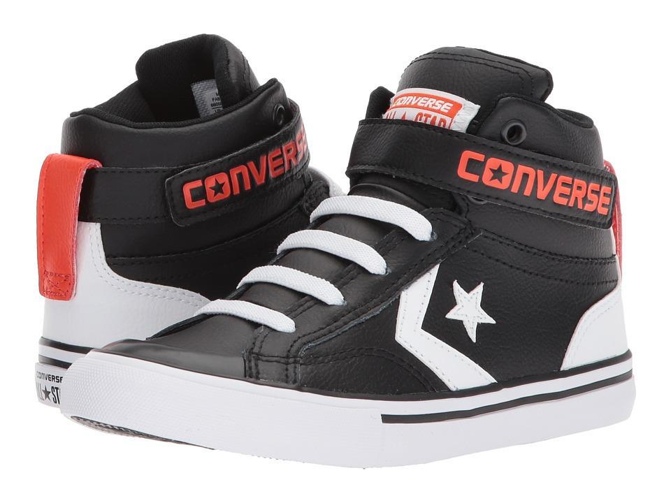 Converse Kids Pro Blaze Strap Hi (Little Kid/Big Kid) (Black/White/Bright Poppy) Boys Shoes