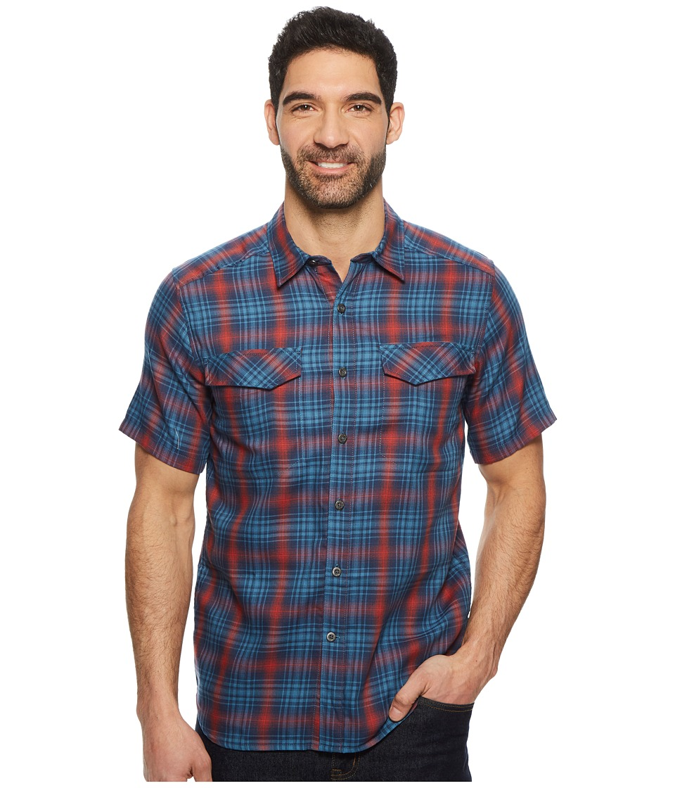 Royal Robbins Merinolux Plaid Short Sleeve Shirt (Blue Stone) Men