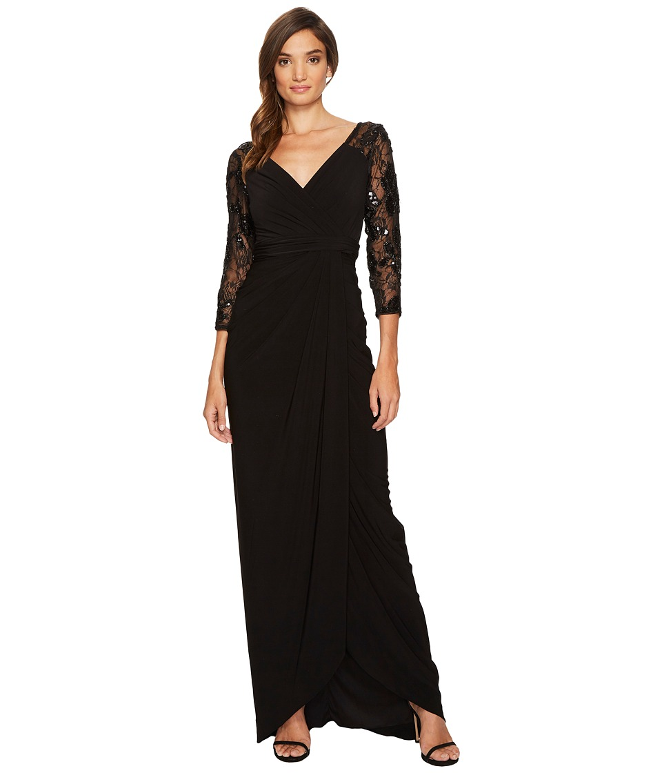 1950s Prom Dresses & Party Dresses Adrianna Papell - Long Gown with Beaded Sleeves and V-Neckline Black Womens Dress $188.95 AT vintagedancer.com