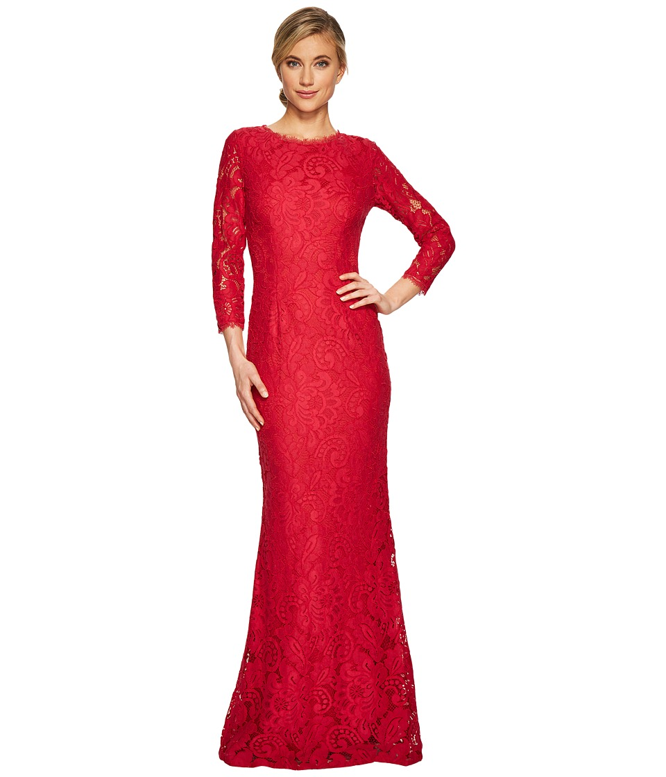 Adrianna Papell - Long Seeve Lace Mermaid Gown