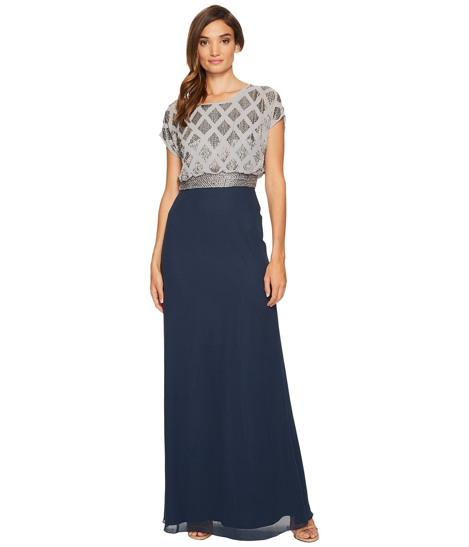 Adrianna Papell - Long Beaded Blouson Gown with Geo Bead Motif