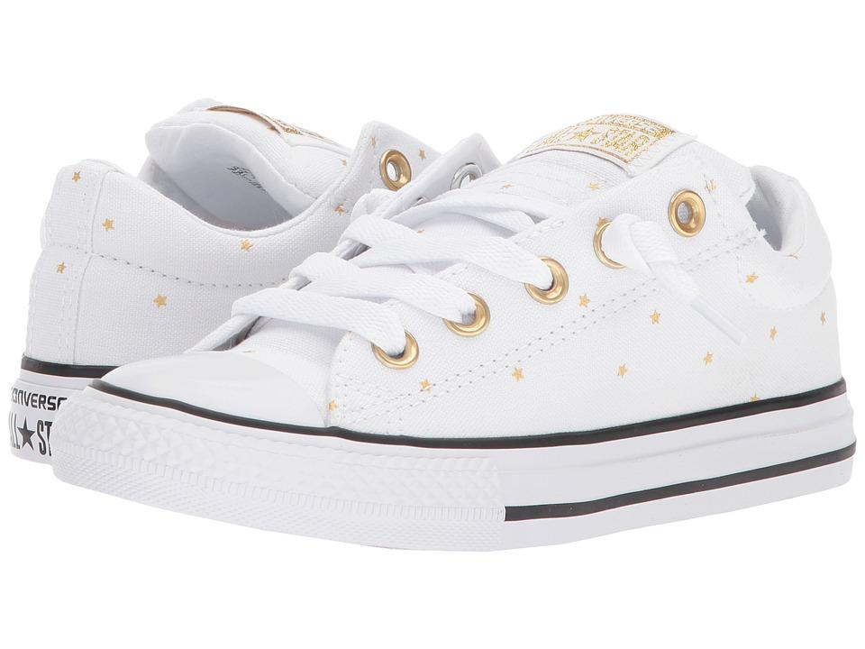 Converse Kids - Chuck Taylor All Star Street Ox (Little Kids/Big Kids) (White/Black/Gold) Girls Shoes