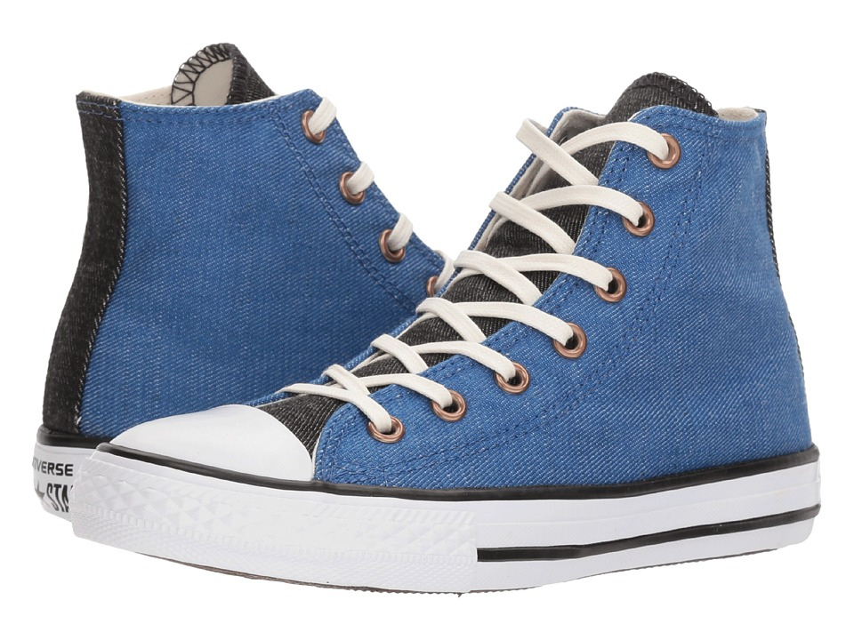 Converse Kids Chuck Taylor All Star Chambray Hi (Little Kid/Big Kid) (Nightfall Blue/Black/White) Boys Shoes