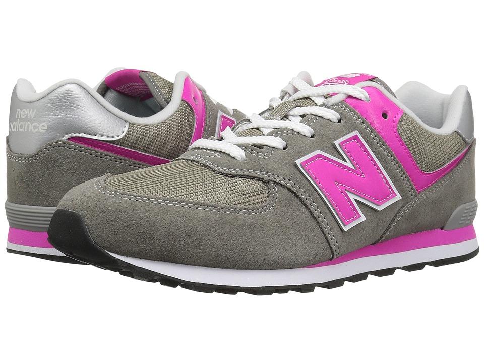 New Balance Kids GC574v1 (Big Kid) (Grey/Pink) Girls Shoes