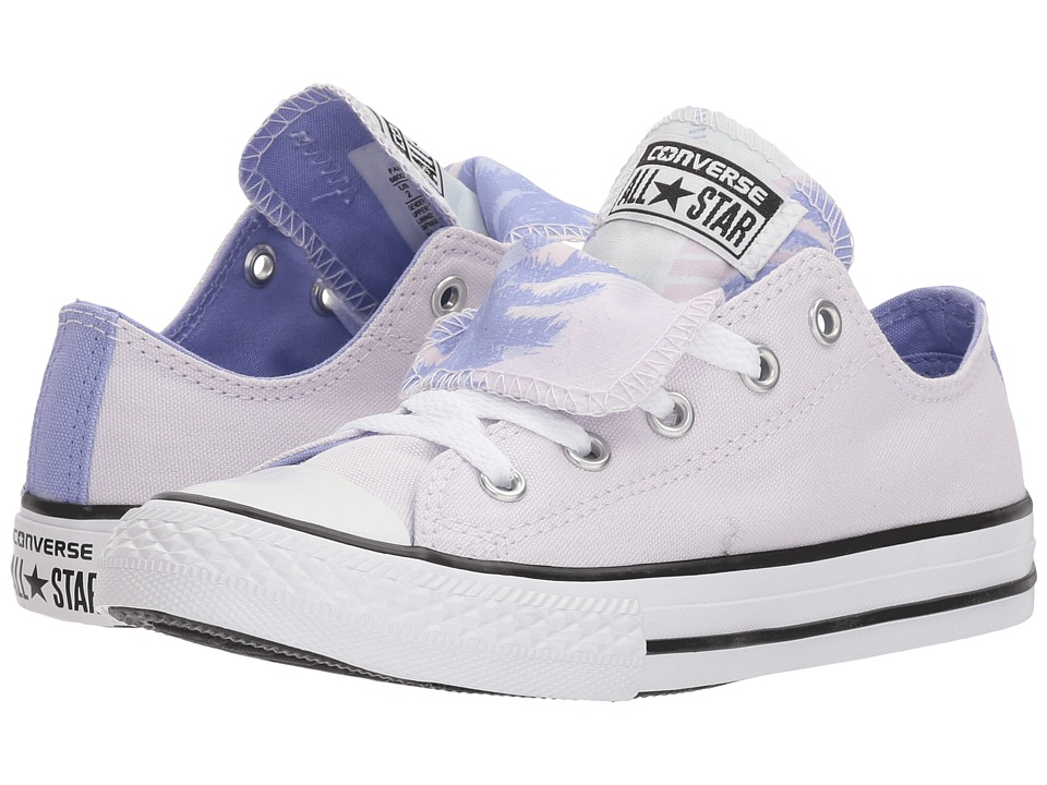 Converse Kids - Chuck Taylor All Star Double Tongue Palm Trees Ox (Little Kid/Big Kid) (Barely Grape/Twilight Pulse/White) Girls Shoes