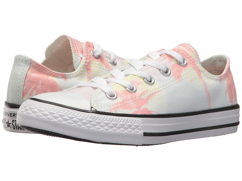 Converse Kids - Chuck Taylor All Star Palm Trees Ox (Little Kid/Big Kid) (Barely Green/Pale Coral/White) Girls Shoes