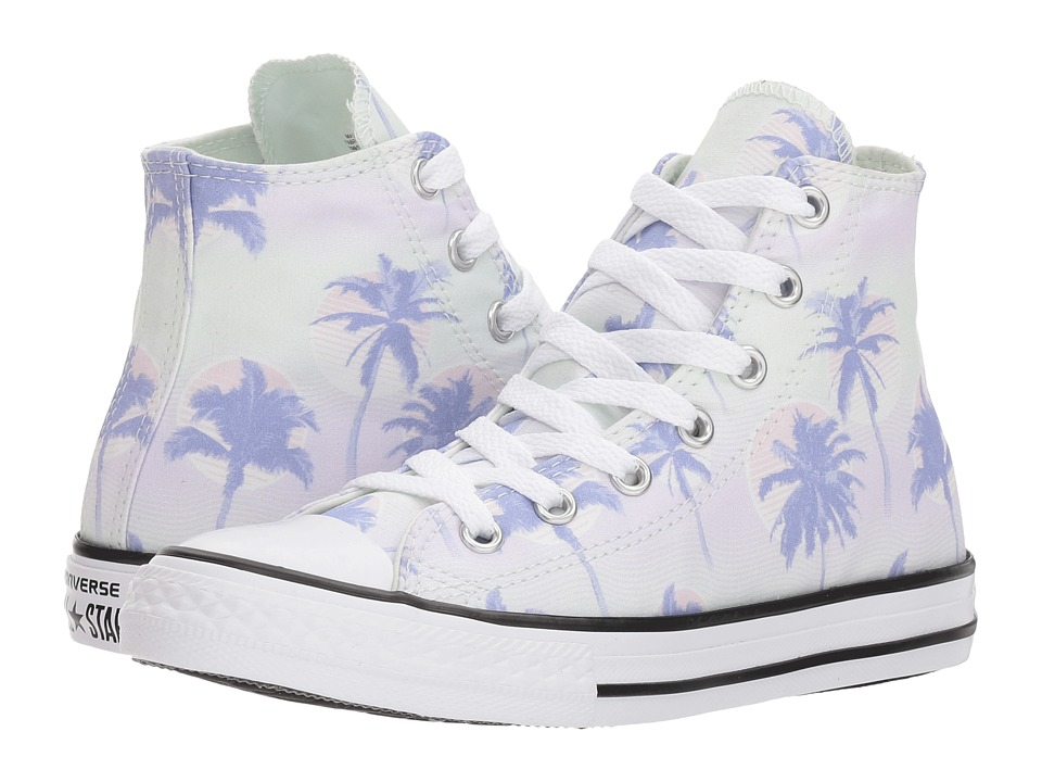 Converse Kids - Chuck Taylor All Star Palm Trees Hi (Little Kid/Big Kid) (Barely Green/Twilight Pulse/White) Girls Shoes