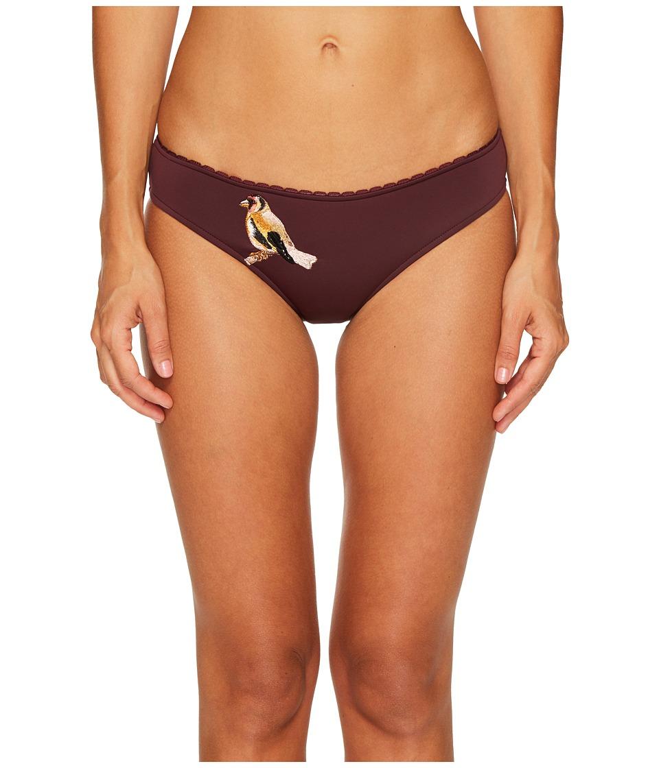 Stella McCartney Embroidery Classic Bikini Bottom (Claret) Women