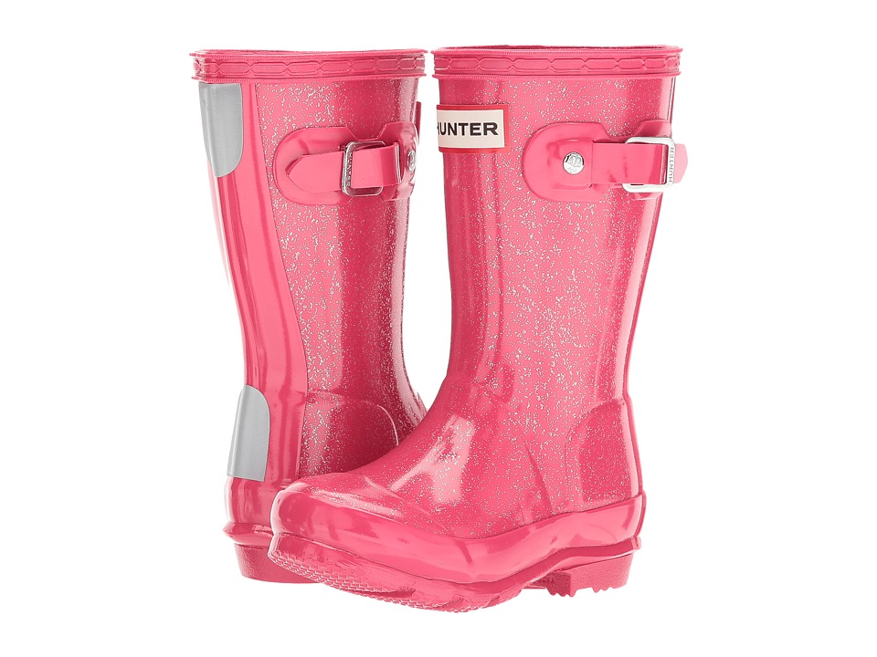 Hunter Kids - Original Kids Glitter Finish Wellington Rain Boots (Toddler/Little Kid) (Mosse Pink) Kids Shoes