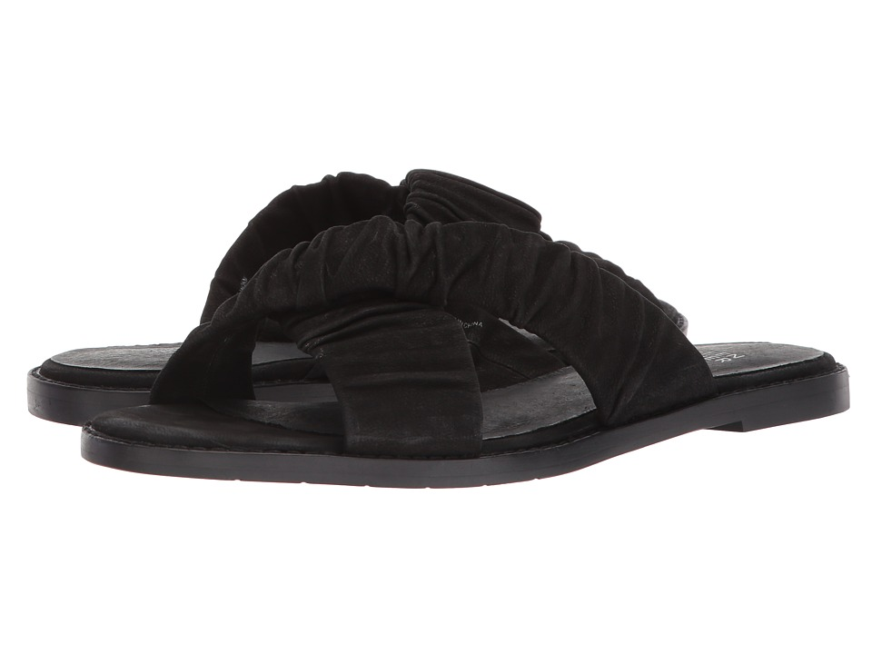 Eileen Fisher - Cross Flat (Black Tumbled Nubuck) Women's Sandals