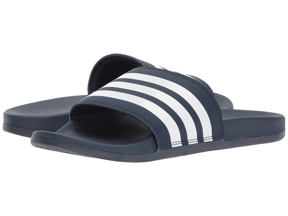 adidas Adilette Cloudfoam Ultra Stripes (Navy/White/Navy) Slides