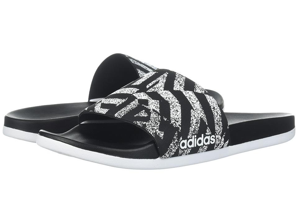 2038fab19e7cc adidas - Adilette Cloudfoam Ultra Stripes (Black-White) Womens Slide ...